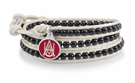 Alabama A&M jewelry and leather wrap bracelet is made with a 2 strand braided leather strap straddling a row of 4mm black onyx beads and our solid sterling silver enameled charm. $99