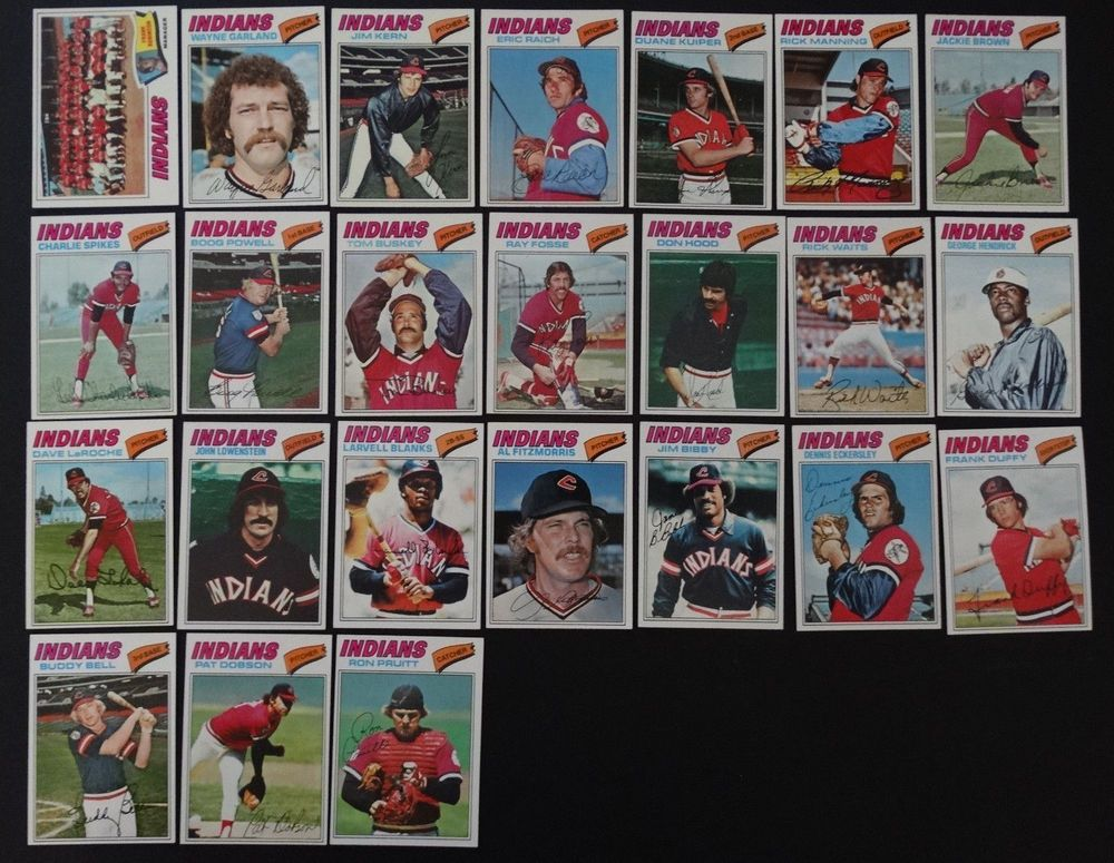 1977 topps cleveland indians team set of 24 baseball cards