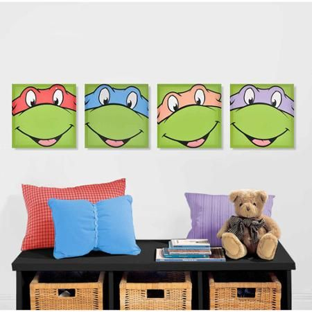 Ninja Turtle Wall Decor nickelodeon teenage mutant ninja turtles 4-pack canvas wall art