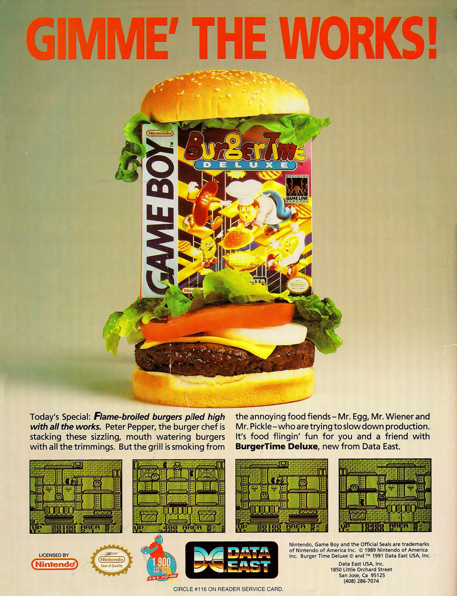 Gameboy color ad - Burger Time Deluxe Nintendo Gameboy Ad Videogames Ads Pinterest The O Jays Burgers And The Works