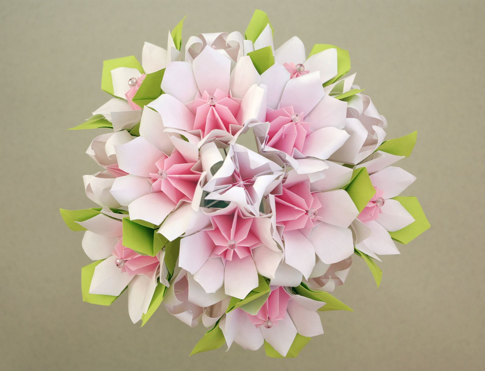 Origami Wedding Bouquet White Pink Green Handmade Paper Flowers