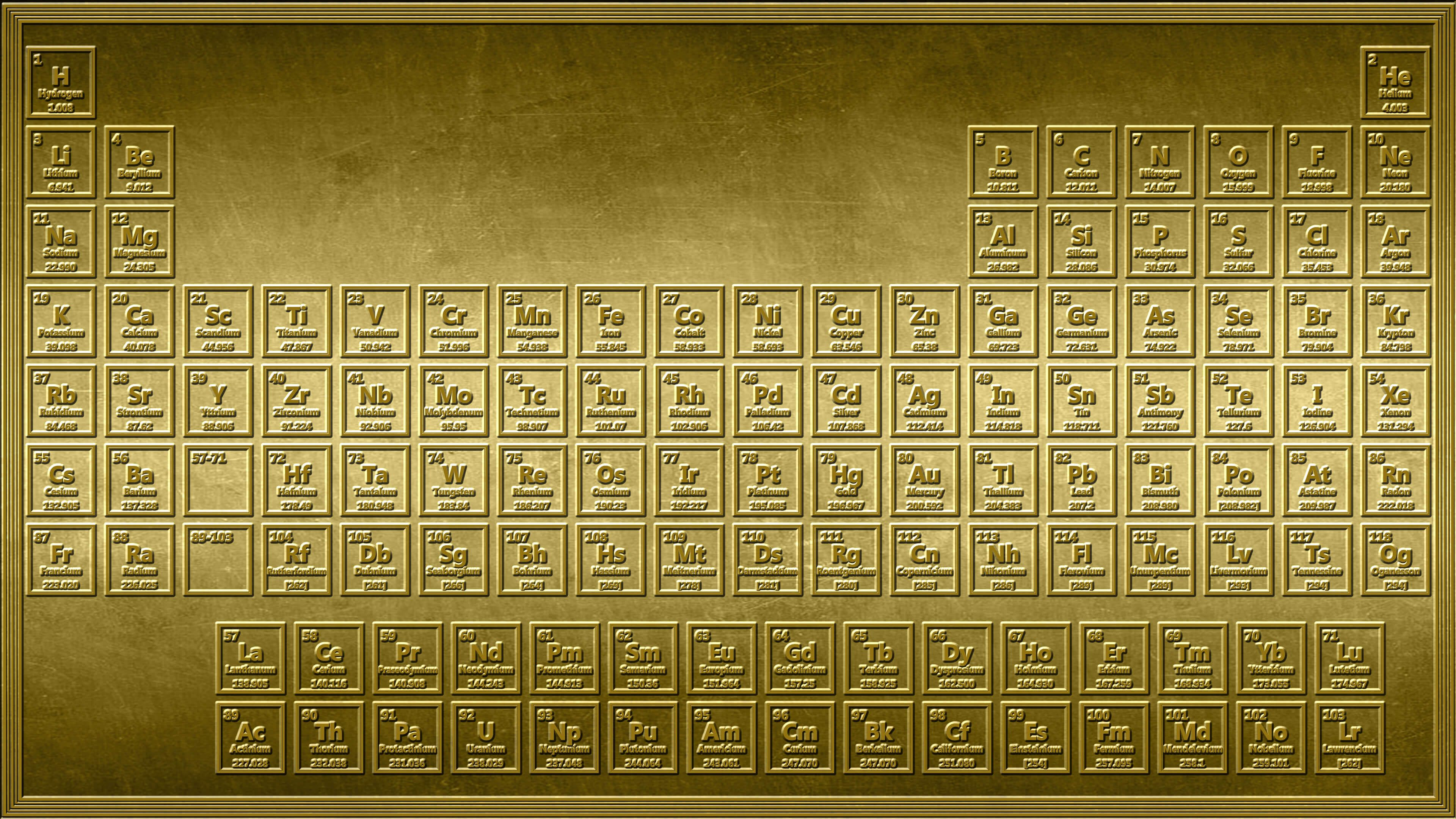 Shiny this 4k gold periodic table wallpaper looks as if it were this gold periodic table wallpaper looks as if it were stamped into a sheet of solid gold contains each element number name symbol and mass urtaz Images