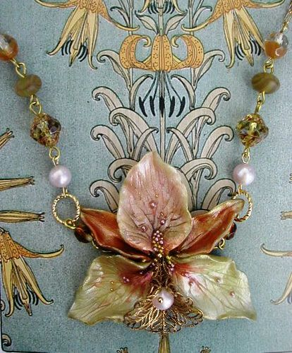 Collier Cymbidium Polymer Clay Flowers Polymer Clay Jewelry Polymer Clay Beads