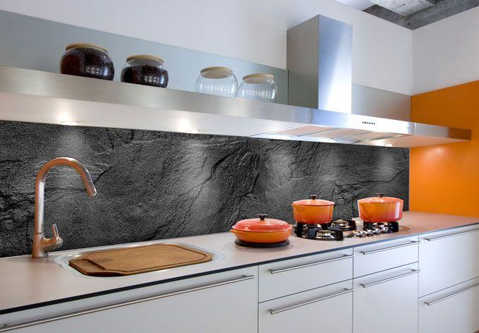 Rivestimento cucina - Alu-Dibond - Effetto Ardesia 01 | Küche