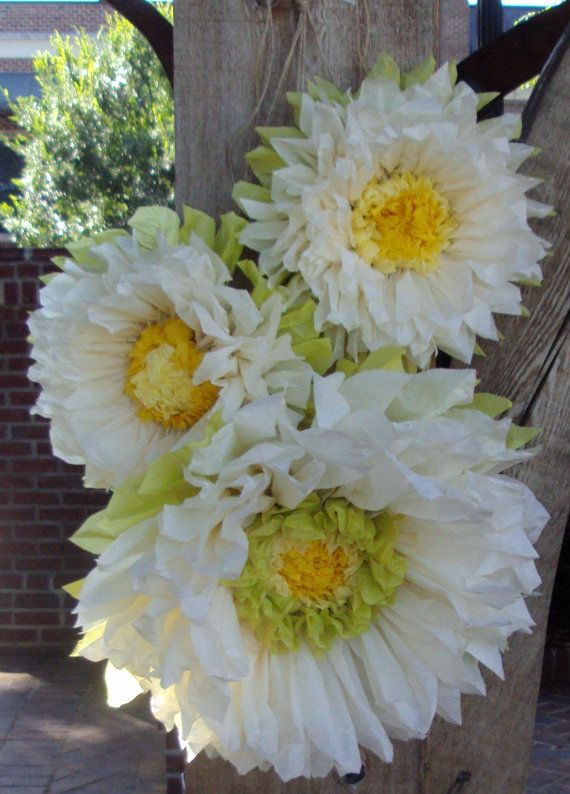 Set of 3 Giant Paper Flowers (Vanilla) - Perfect Decorations for ...