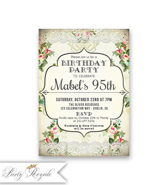 95th Birthday Invitations For Her A Woman 85th 90th