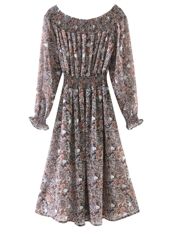 577cca373b59 Off The Shoulder Paisley Smocked Dress - COFFEE S