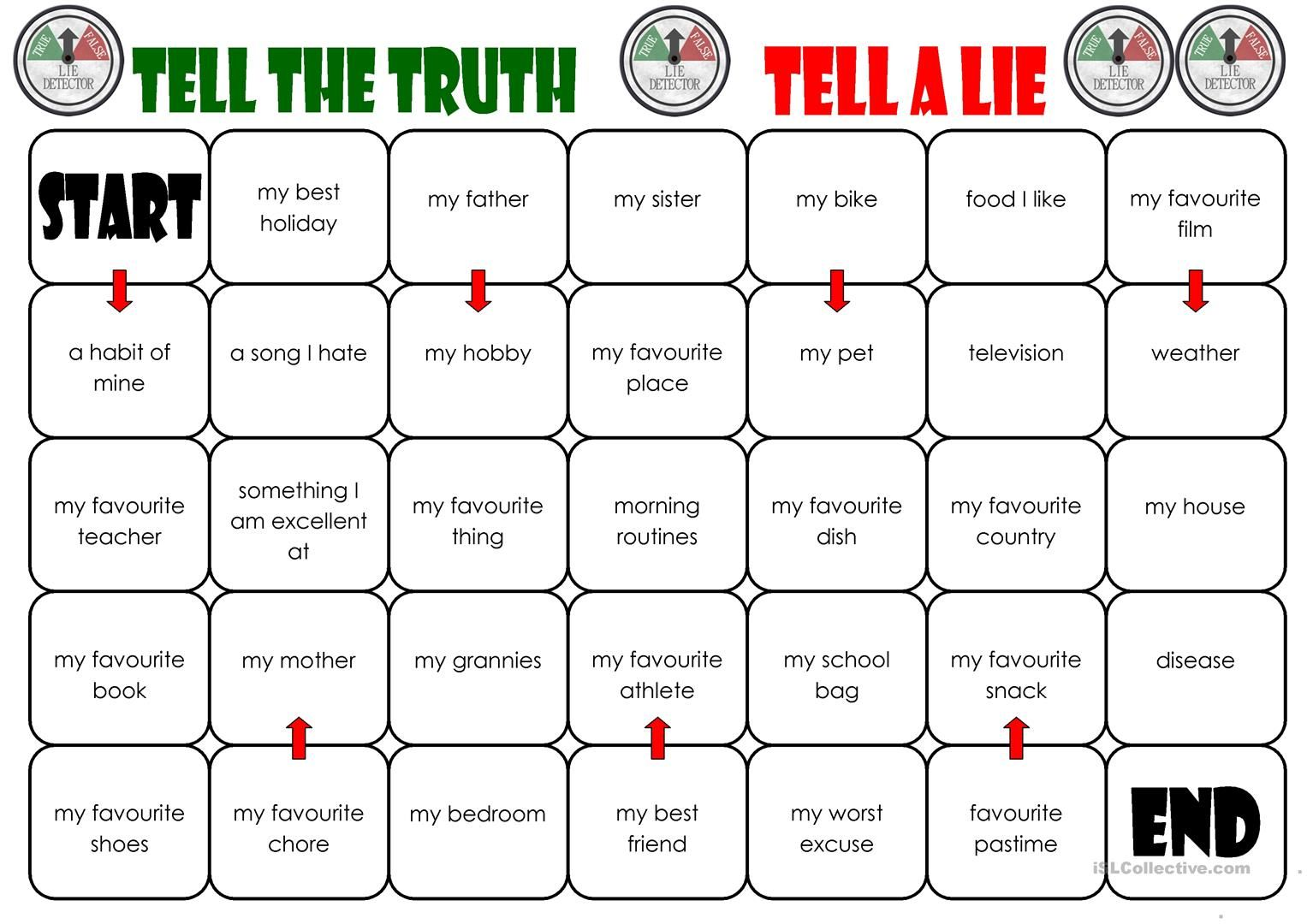 Tell The Truth Tell A Lie Board Game With Images Speaking