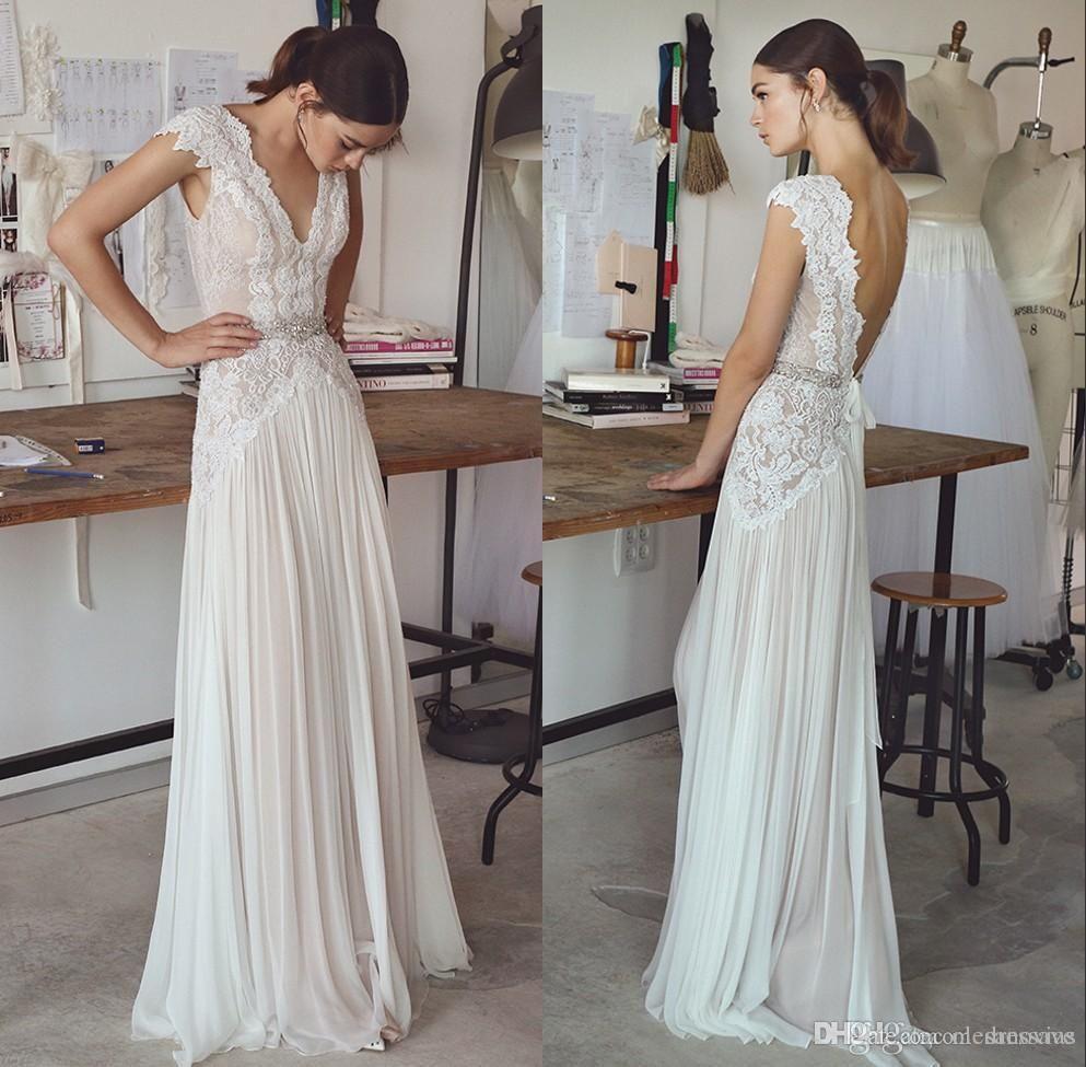 Sexy boho bohemian wedding dresses v neck chiffon crystals