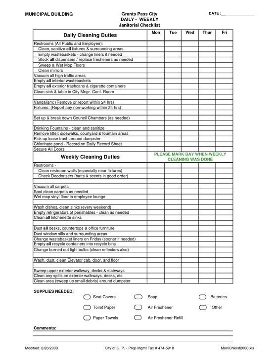 Office Cleaning List Checklist Janitorial Supplies