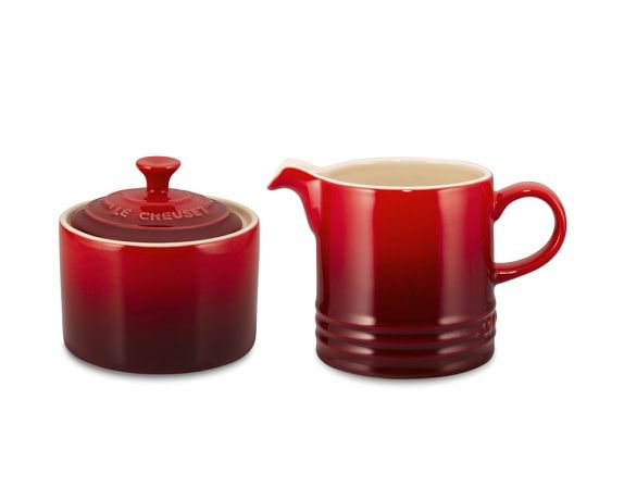 Le Creuset Café Stoneware Sugar Bowl And Creamer, Red