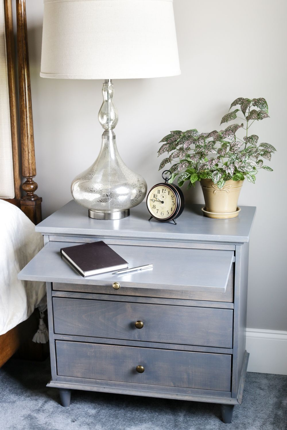 Nightstand W Charging Station Pullout Writing Tray Diy Nightstand Plans Nightstand Decor Bedroom Night Stands Diy Nightstand