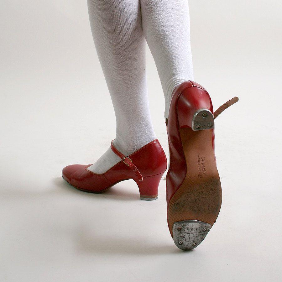 les talons cerise de chaussures de claquettes capezio rouge cerise talons vintage de taille.- nous dd15f2