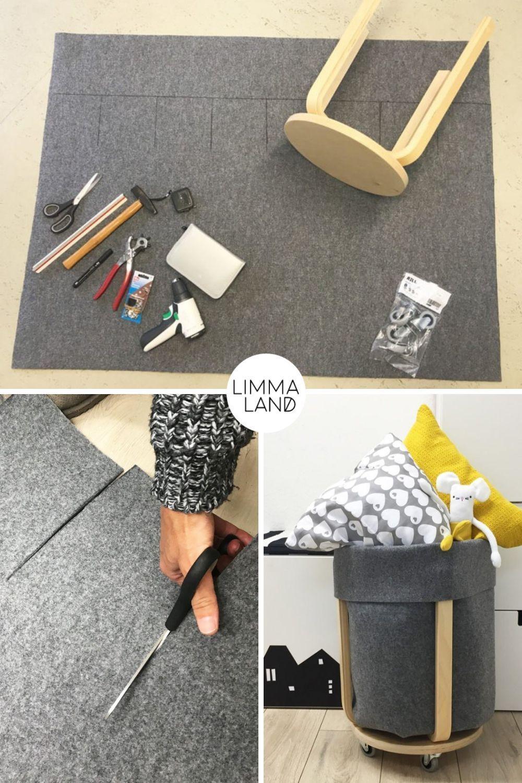 IKEA Hack: Filz Utensilo basteln statt nähen mit dem FROSTA Hocker #kinderzimmerdeko