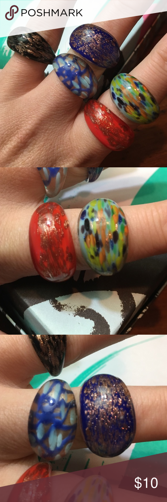 """5 Assorted Glass Rings - multicolored 5 - """"Murano-style"""" glass rings.  Sizes 8-9ish. Multi-colored.  Reasonable offers considered...don't forget to bundle!! Jewelry Rings"""
