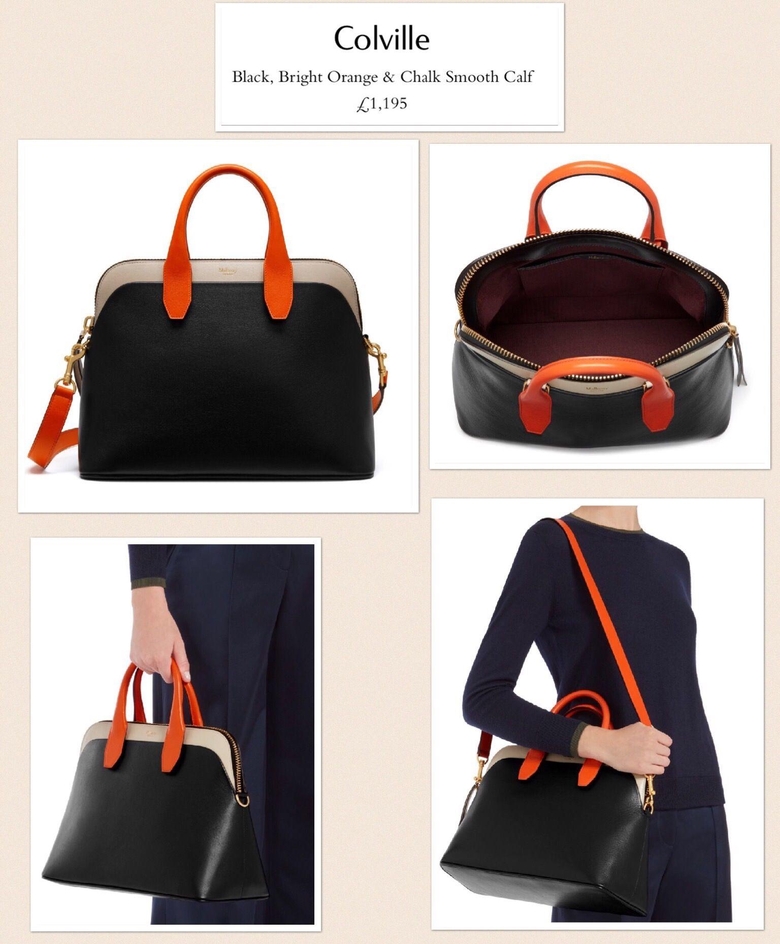 Mulberry Colville Black, Bright Orange and Chalk Smooth Calf. SS17. RRP  £1.195. 27x38x19 cm. Handle drop 10 cm. Strap 40 cm. 2b6e7b33af