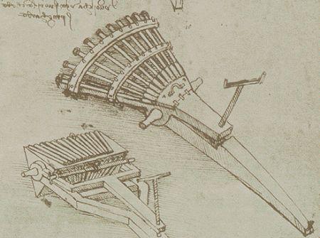 Leonardo da Vinci - Codex Atlanticus, folio 157 - Eight-Barrelled ...