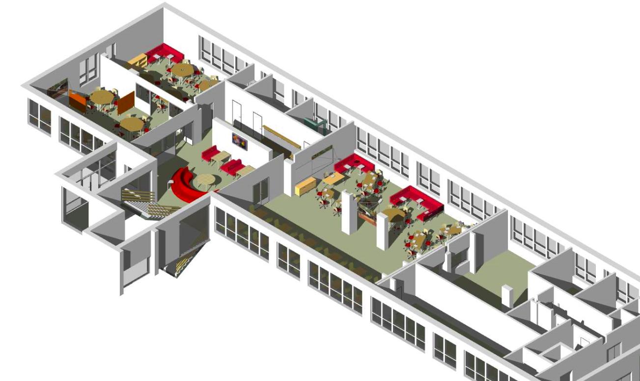 Návrh na premenu jedného poschodia školy v Brehoch. Vľavo sú triedy, pri schodisku vestibul a napravo od neho jedáleň. Vizualizácia – Finpeda