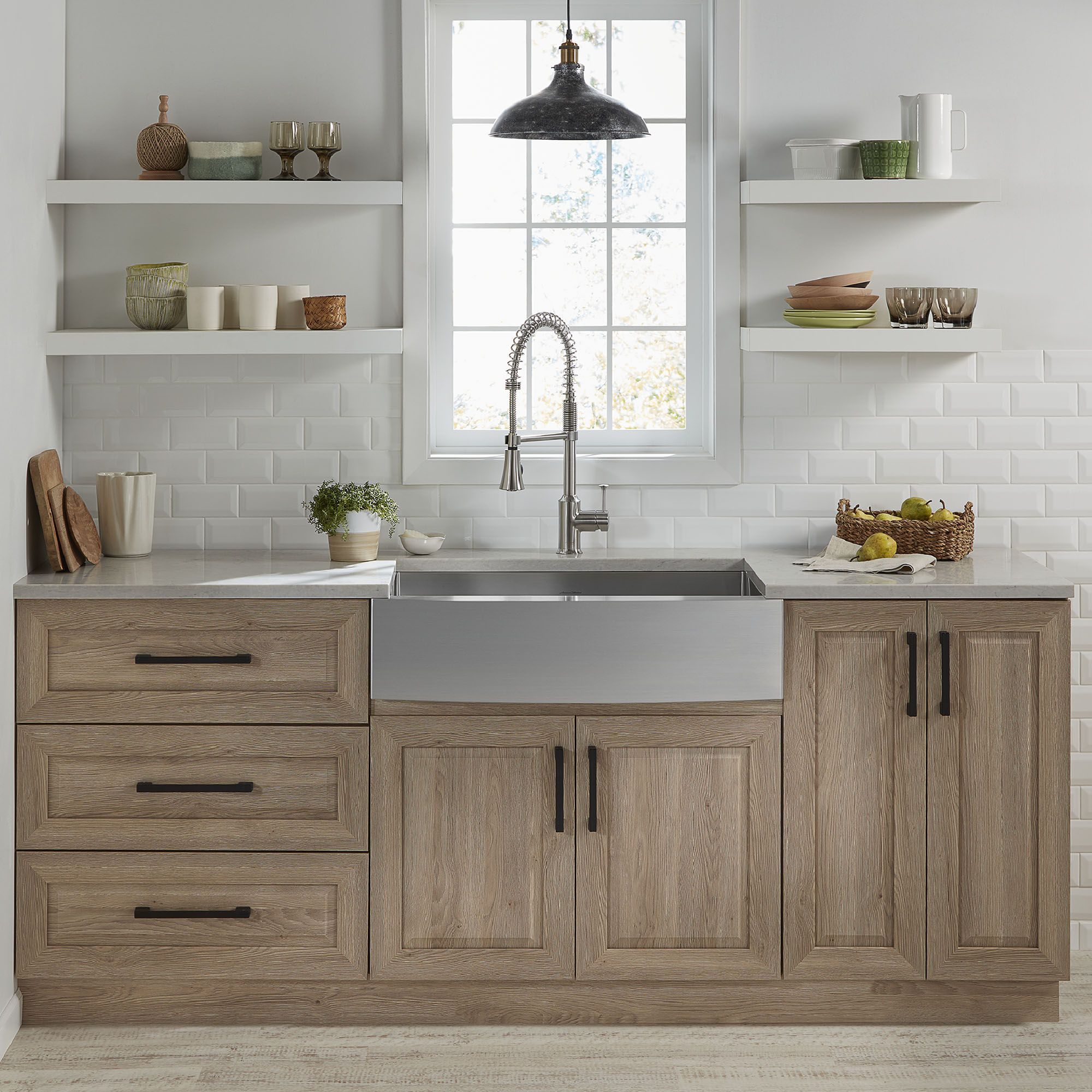 Pekoe 33x22 Inch Stainless Steel Farmhouse Sink American Standard Stained Kitchen Cabinets Kitchen Cabinet Inspiration Kitchen Design