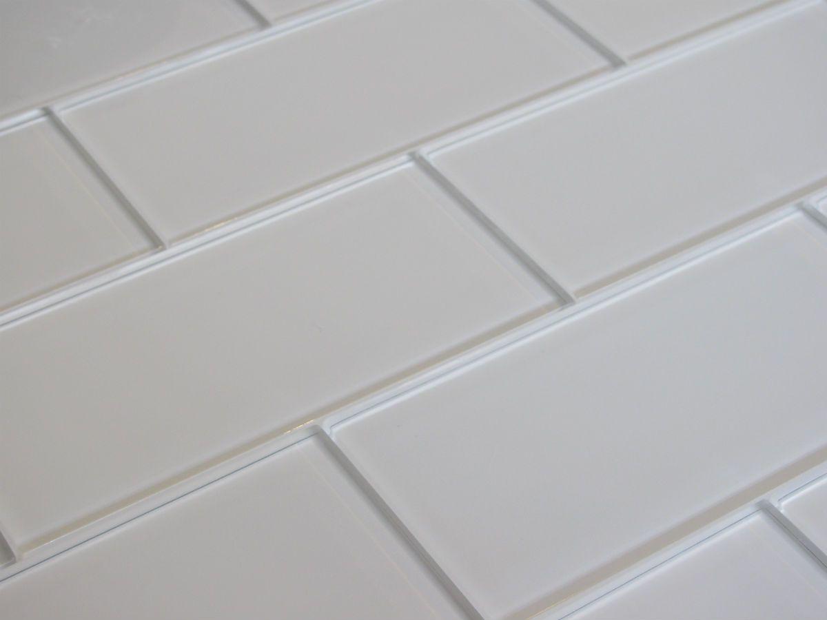 Snow Day White Glass Metro Tiles Monochrome Black And White