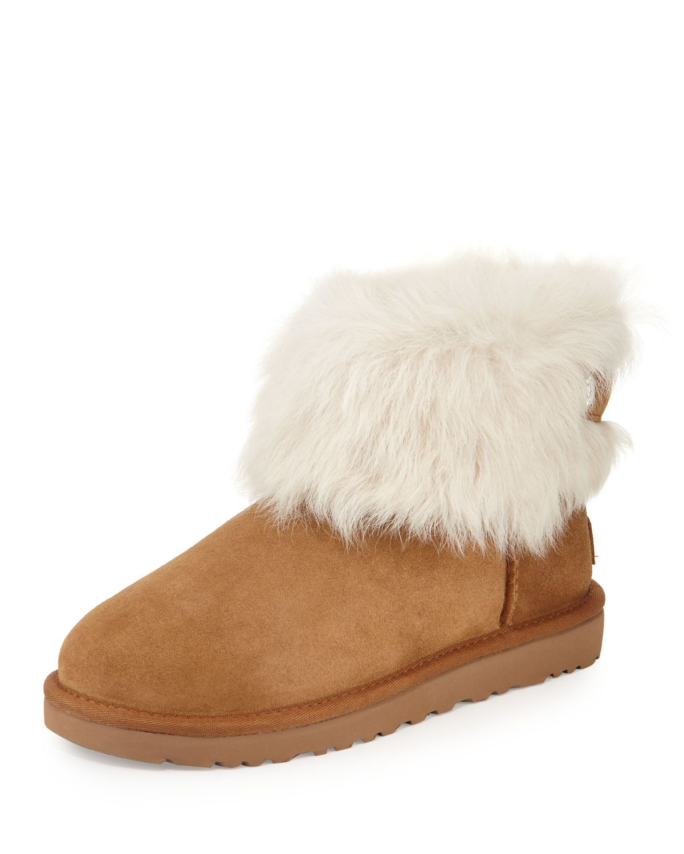 ab8572f7cdf UGG Valentina Crystal-Button Shearling Fur Boot   MALIBU MART   Fur ...
