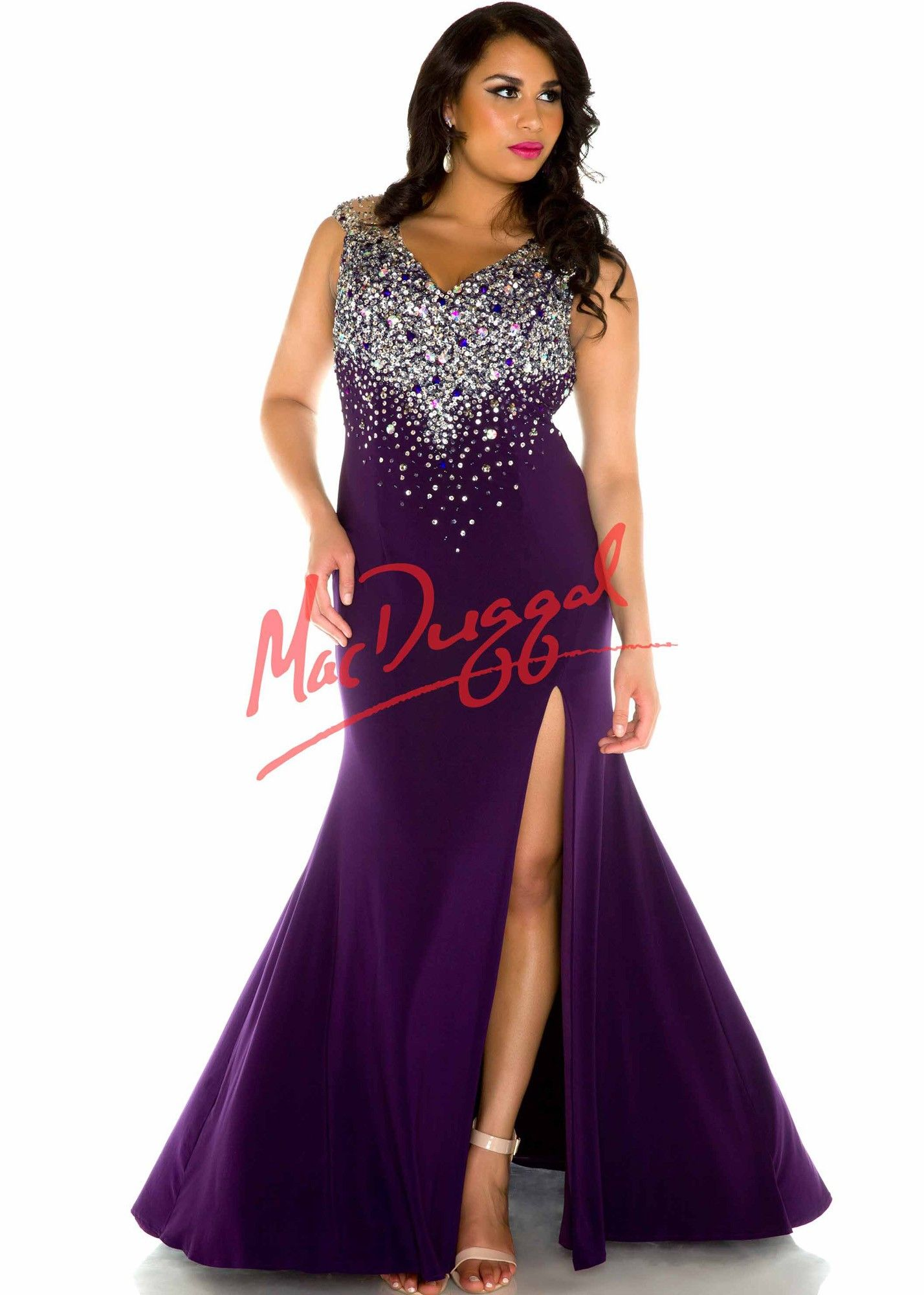 Fabulouss by Mac Duggal 76759 Deep Purple Glitzy Jersey Plus Size ...