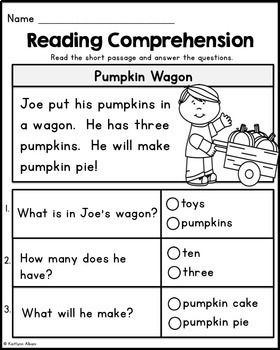 Kindergarten Reading Comprehension Passages - Fall Edition ...