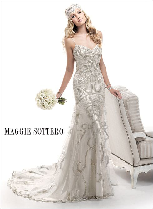 e8aabff3ed3 Metallic embroidery couples with intricate beaded patterns create this  stunning sheath gown