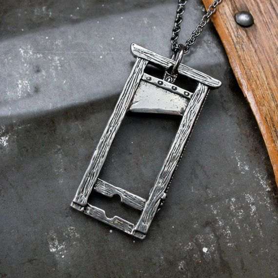 Guillotine Pendant Necklace - White Bronze