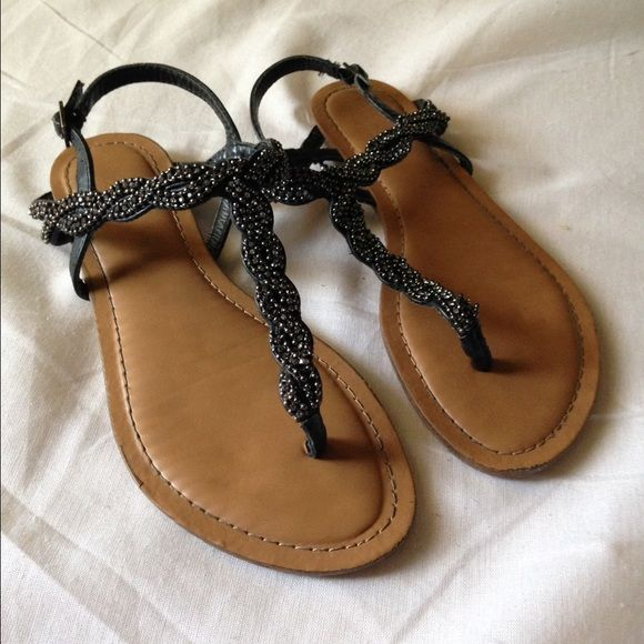 Target Black Stone Sandals - 6.5 Target thing sandals with charcoal rhinestones and chain all over. Gently worn! Shoes Sandals