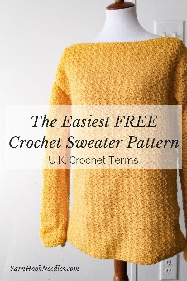 The Easiest Pullover Crochet Sweater You'll Ever Make! UK Terms #sweatercrochetpattern