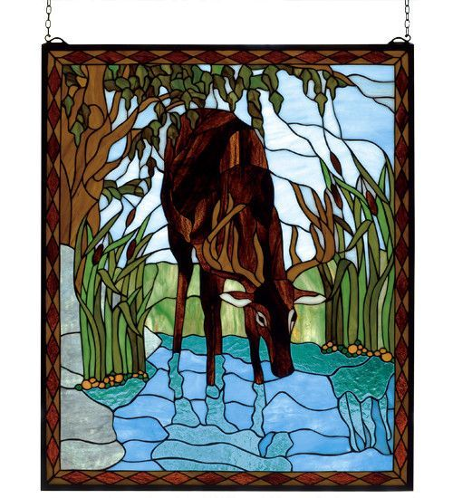 """25""""W X 30""""H Deer Stained Glass Window"""