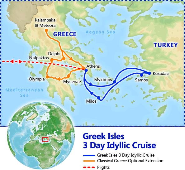 Mykonos Milos Greek Islands 3 Day Idyllic Cruise tour itinerary