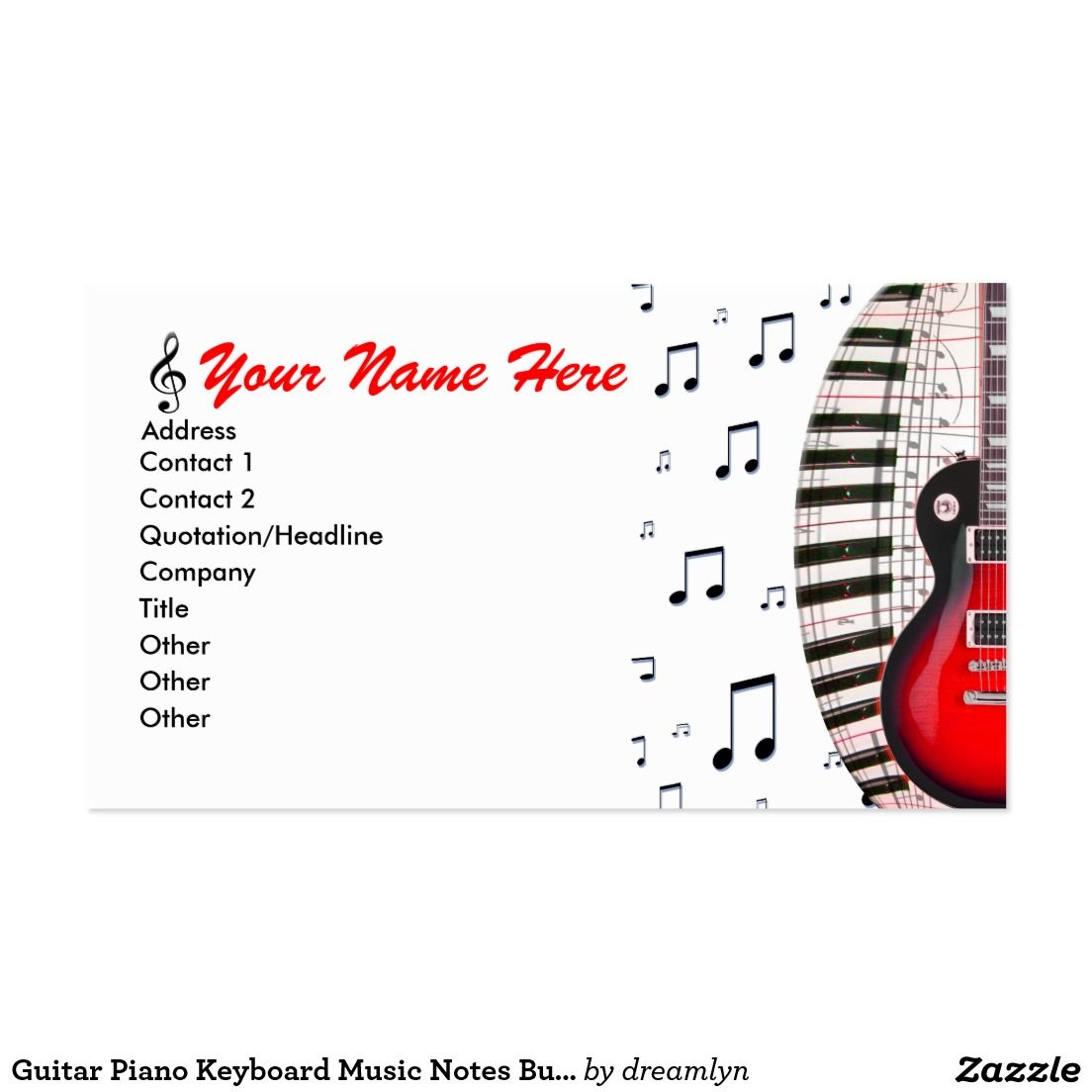 Guitar piano keyboard music notes business card music notes guitar piano keyboard music notes business card reheart Images