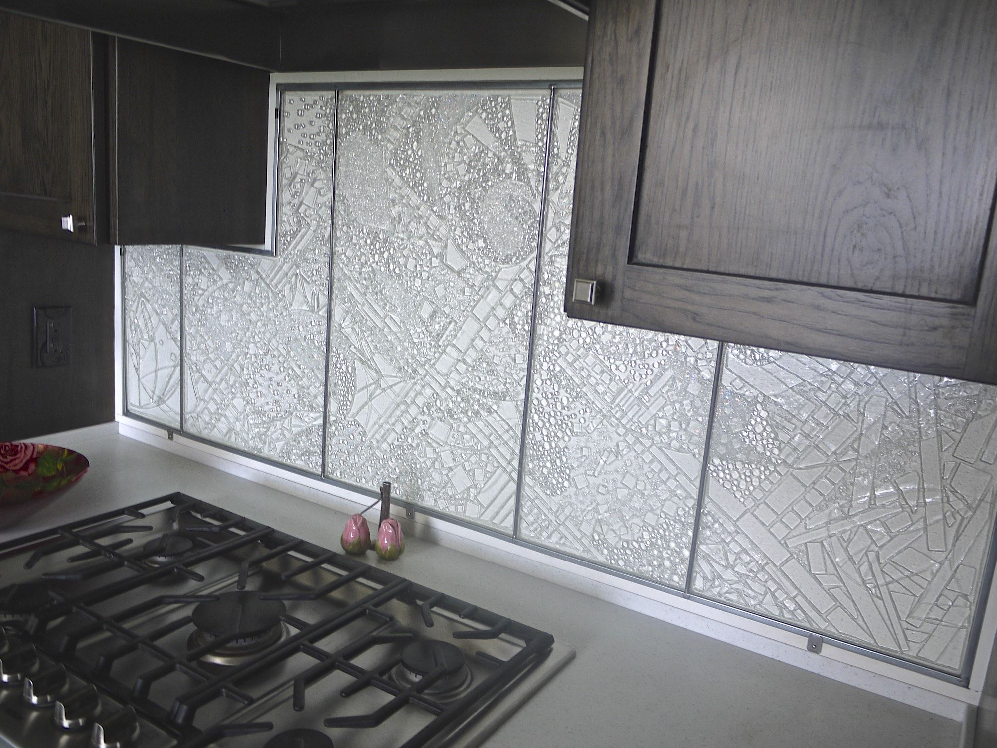 Custom Made Backsplash Done By Prairie Glass Studio In Topeka Ks This Stunning Piece Was Made From Only Clear Gl Custom Backsplash Fused Glass Art Backsplash