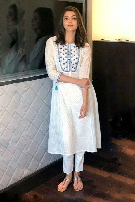 Kajal Aggarwal Kurta Designs Women Cotton Kurti Designs Indian Outfits