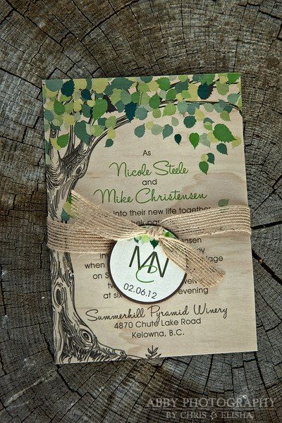 Real wood nature inspired wedding invitation featured in wedding bells magazine