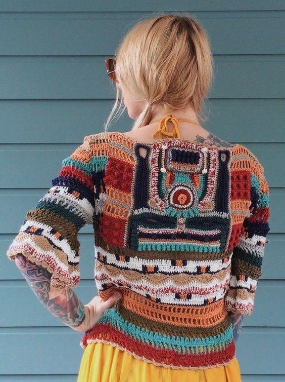 crochet boho sweater   szydełko   Crochet cardigan ...