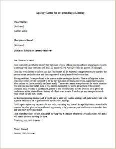 apology letter for not attending a meeting download at httpwriteletter2com