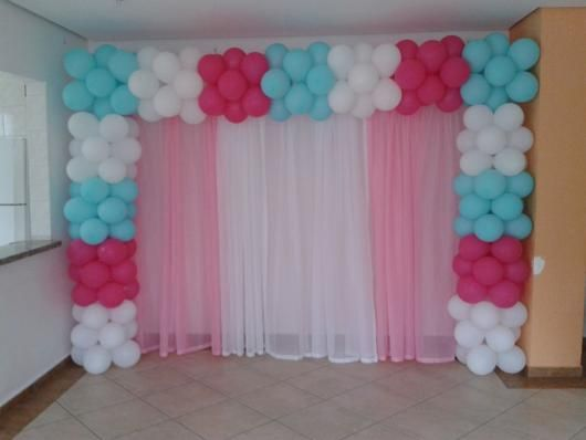 Arco De Baloes Quadrado Rosa Azul E Branco Arco De Balao Quadrado