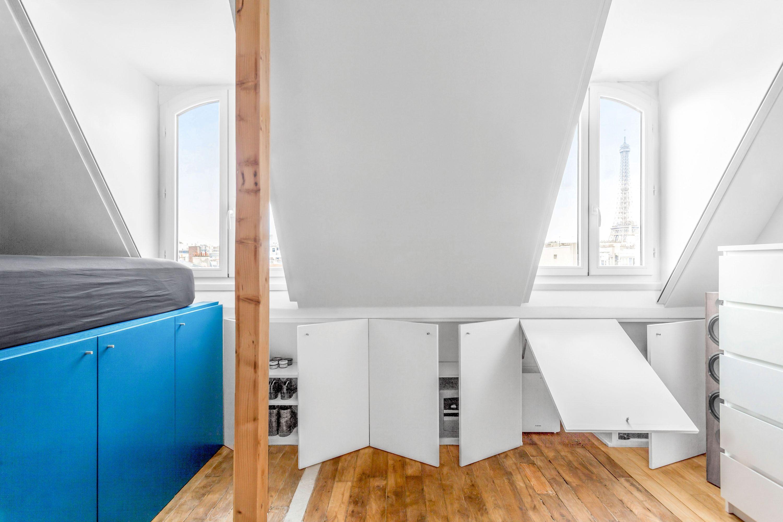 Studio Paris 2 Chambre De Bonne Optimisee Et Modernisee Chambre De Bonne Amenagement Combles Chambre Amenagement Chambre