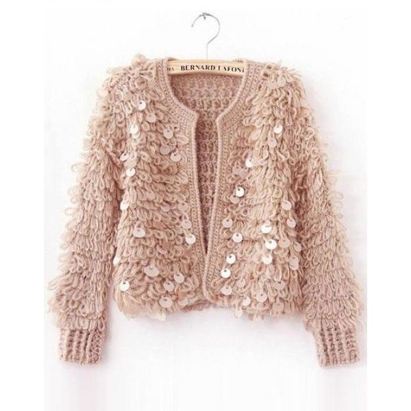 Vintage Sequins Plush Fluffy Knitting Short Sweater (46 CAD) found ...