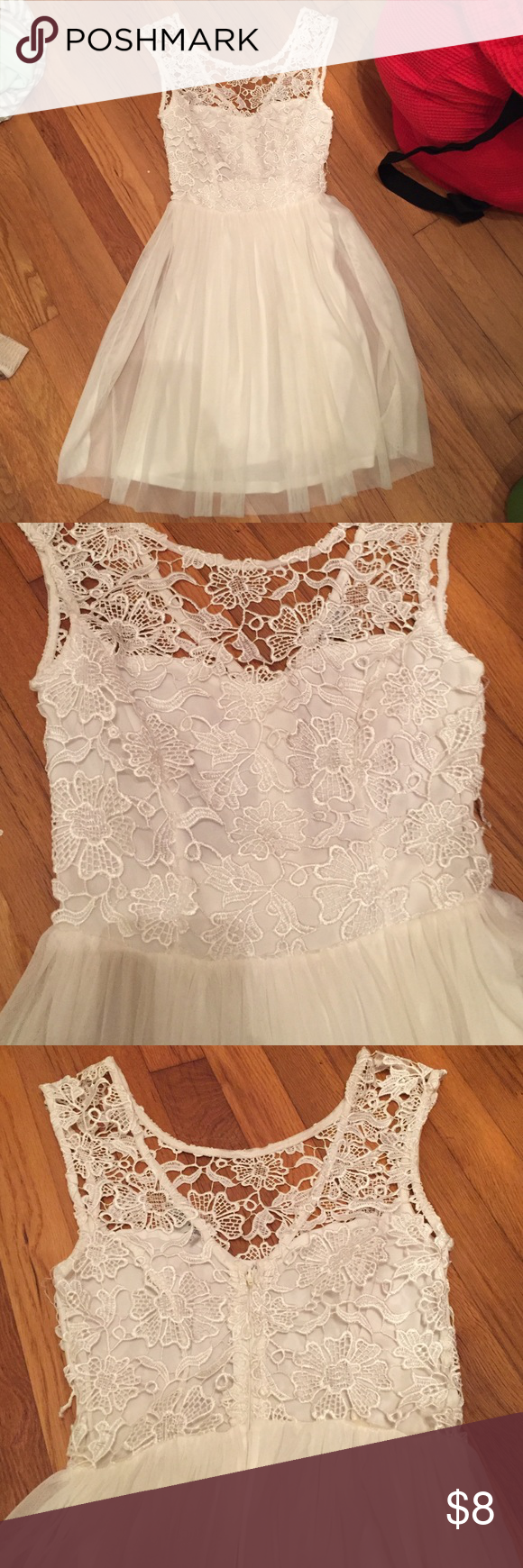 Charolette Russe Lace backless dress Lace dress with a sweet heart neckline and lace that comes up more high neckline. Back is open, covered only by lace. One small snag/tear in the lace on the side, but otherwise in great shape. Worn only once. Charlotte Russe Dresses Mini