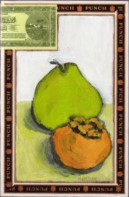 pear persimmon cigar box painting by Matthew Seigel, Painting - Acrylic | Zatista