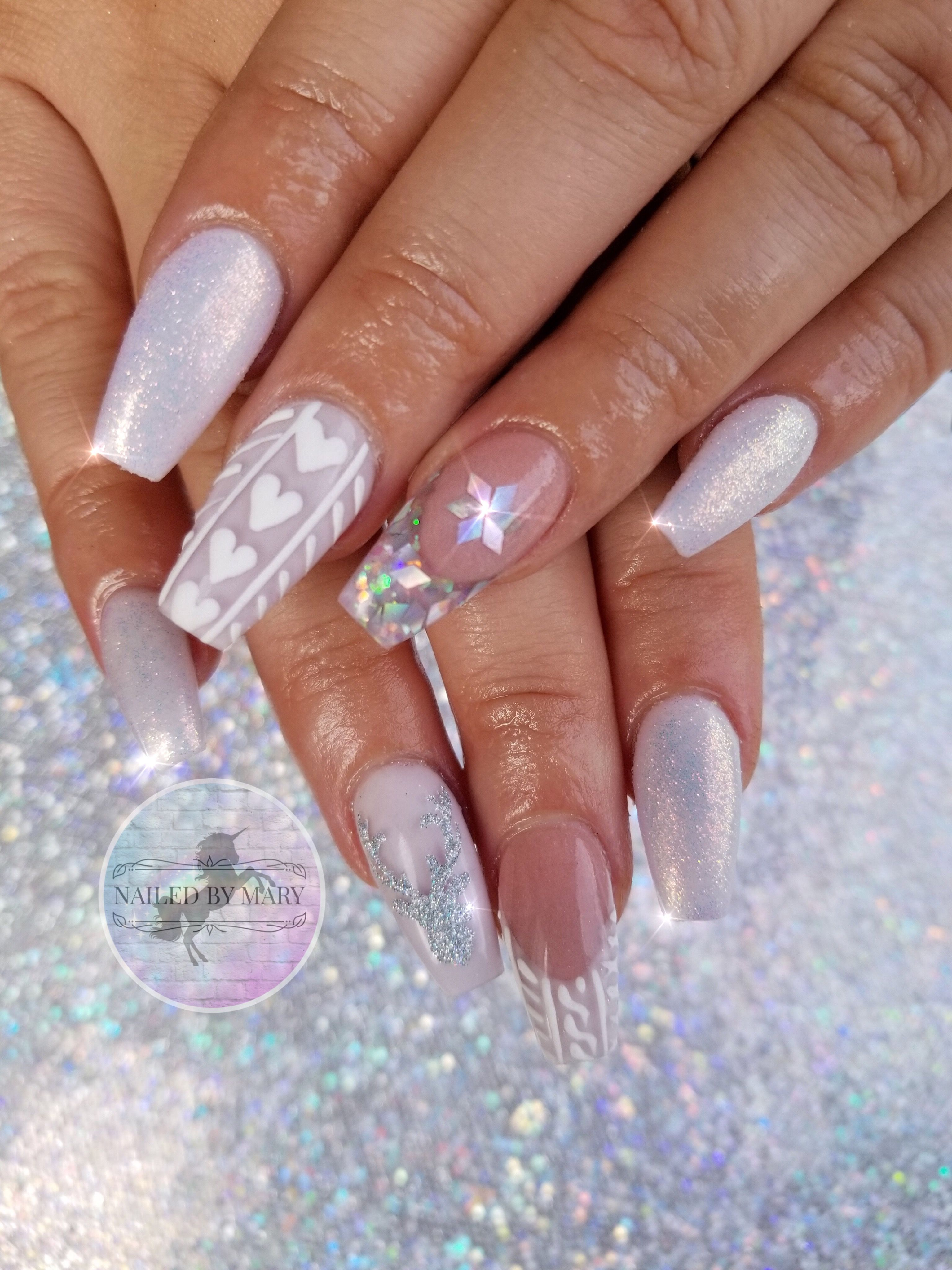 Fairy Dust Snowflakes Glitter Sweater Winter White Nails Winter