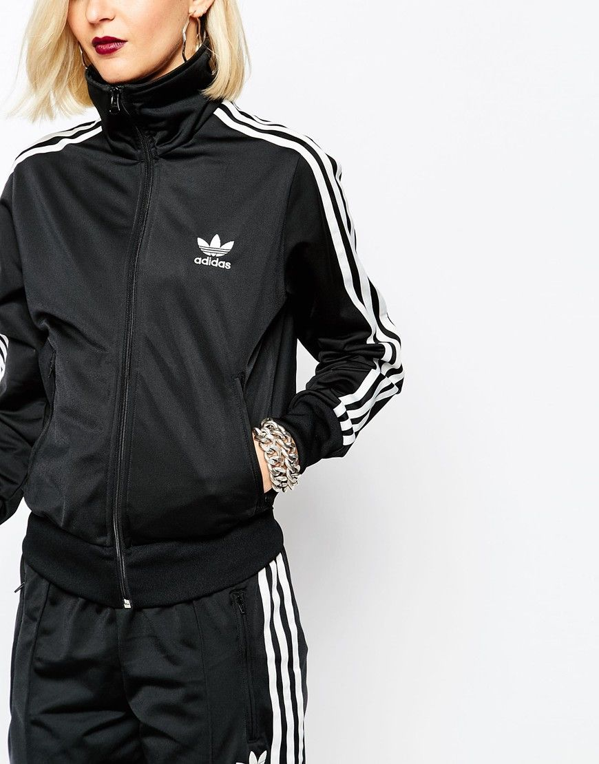 0354e00cc6264 Adidas Originals 3 Stripe Zip Front Track Jacket in Black