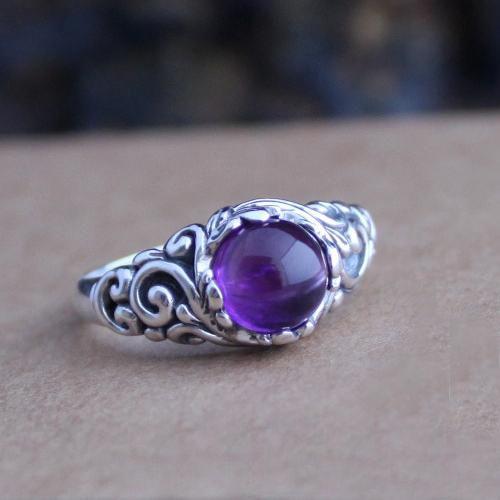 Handcarved Amethyst /& Sterling Ring
