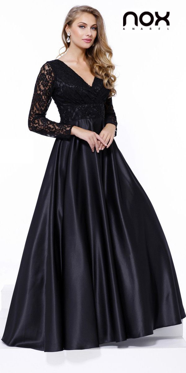 Poofy Satin Ball Gown Black V Neckline Lace Long Sleeves | Pinterest ...