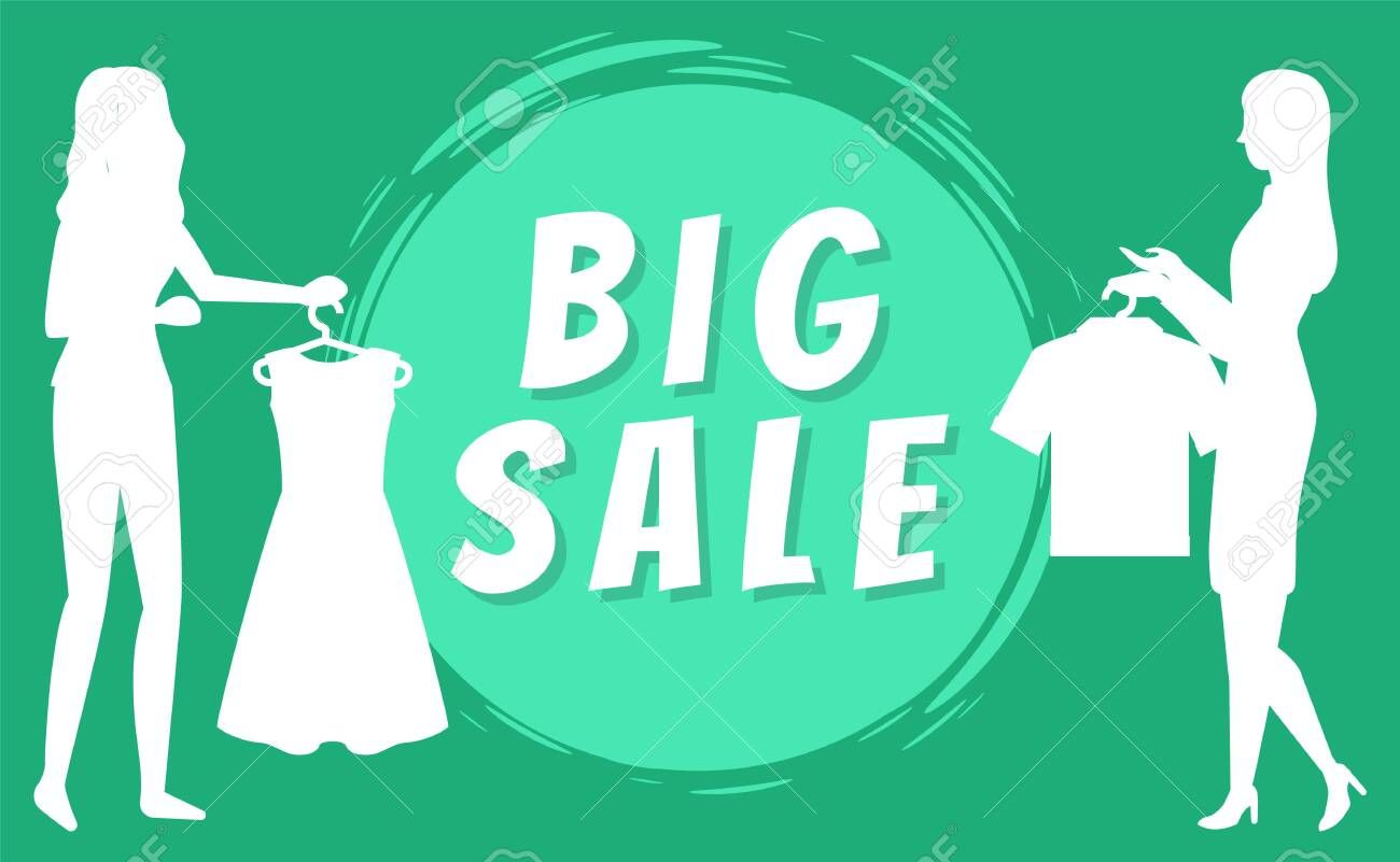 Big sale concept Women holding clothes on hangers silhouette on green background Shopping mall fashionable boutique purchasing vector illustration