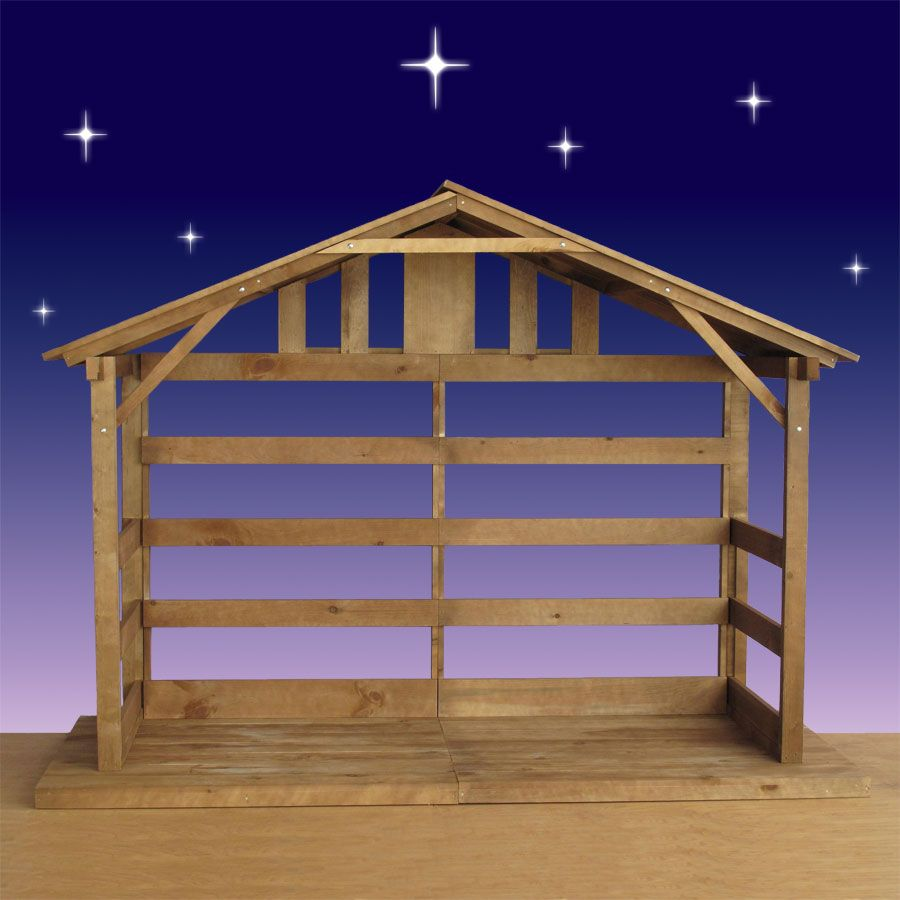 Wood Stable | Nativity scene diy, Outdoor nativity